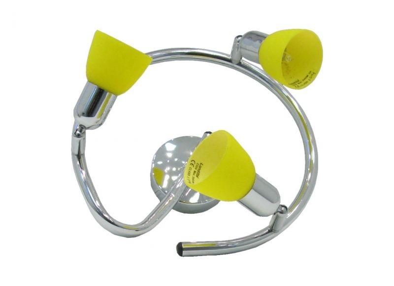 Landlite Cle 430a Spot Lamp 3x60w Yellow Shade Chrome