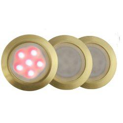 LANDLITE LED-GR01-3x1,2W, 3pcs SET, transformer, metallic colors: gold, matte, LED color: 7 color changing, I