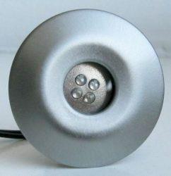 LANDLITE LED-GR02-4x1,0W, 4 pcs SET, with transformer, metallic colors: matte chrome, LED color: blue, IP44,