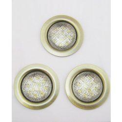 LANDLITE LED-06D-3X1,0W, 3pcs 1,0W LED 12V, downlight KIT (3 pcs-os LED KIT), LED: white, lámpa: antique bron
