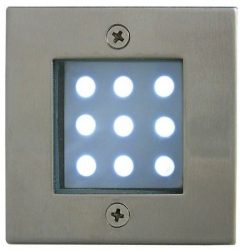 LANDLITE LED-GR92-3, 3x1,0W, 3pcs SET, transformer, metallic colors: matte chrome, IP68, recessed LED ground