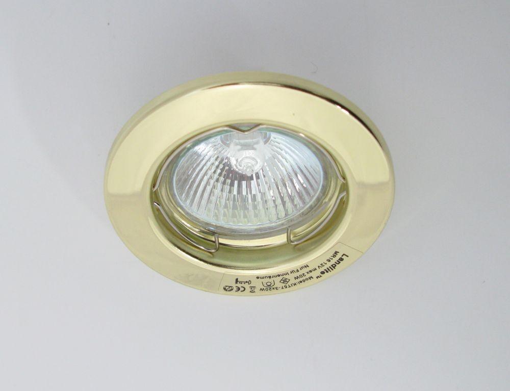 Landlite Kit 57 3 3pcs Mr16 20w 12v Halogen Lamp Fix Design Downlight Pcs Brass