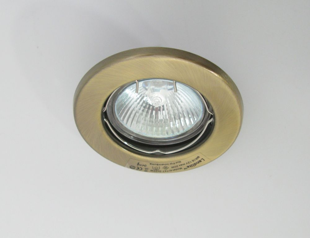 Landlite Kit 57 3 3pcs Mr16 20w 12v Halogen Lamp Fix Design Downlight Pcs Antique Bro