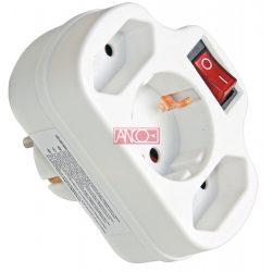ANCO Combi adapter, 2+1 fold, white