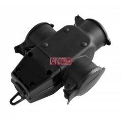 ANCO T 3-as gumi elosztó,hosszabbítóhoz. IP44
