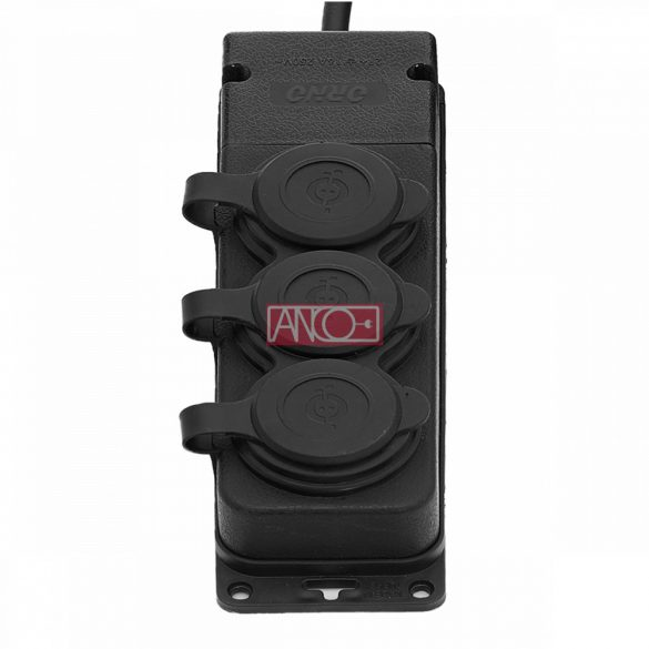 ANCO 3 extension sockets, rubber, IP44